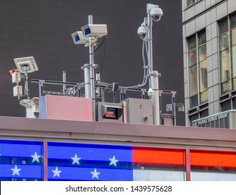 New York, NY, USA. Police video surveillance system in the city center. Cameras that control the most sensitive areas of the city. NYPD security camera in Manhattan