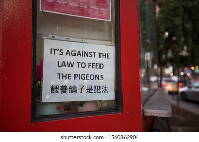 New York, NY / USA - Sept. 22, 2019: A sign in Chinatown tells tourists not to feed the pigeons in the park. Feeding pigeons is against the law in that area.