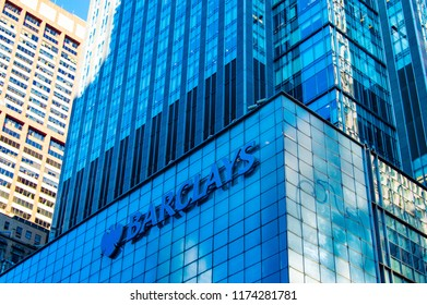 New York , NY , USA - SEptember 6, 2018. Barclays sign on the building in Manhattan