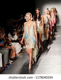 New York, NY, USA - September 8, 2018: Models walk runway for the Custo Barcelona Spring/Summer 2019 runway show during New York Fashion Week at Pier 59 Studios at Chelsea Piers, Manhattan
