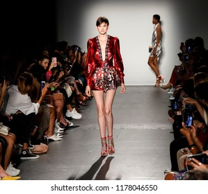 New York, NY, USA - September 8, 2018: A model walks runway for the Custo Barcelona Spring/Summer 2019 runway show during New York Fashion Week at Pier 59 Studios at Chelsea Piers, Manhattan