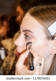 New York, NY, USA - September 6, 2018: A model prepares backstage for the Noon by Noor Spring/Summer 2019 runway show during New York Fashion Week at Spring Studios, Manhattan