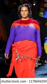 New York, NY, USA - September 9, 2018: Candice Huffine walks runway for the Prabal Gurung Spring/Summer 2019 runway show during New York Fashion Week at Spring Studios, Manhattan