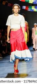 New York, NY, USA - September 9, 2018: Gigi Hadid walks runway for the Prabal Gurung Spring/Summer 2019 runway show during New York Fashion Week at Spring Studios, Manhattan