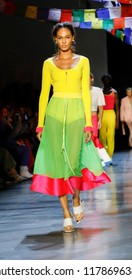 New York, NY, USA - September 9, 2018: Joan Smalls walks runway for the Prabal Gurung Spring/Summer 2019 runway show during New York Fashion Week at Spring Studios, Manhattan