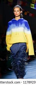 New York, NY, USA - September 9, 2018: A model walks runway for the Prabal Gurung Spring/Summer 2019 runway show during New York Fashion Week at Spring Studios, Manhattan