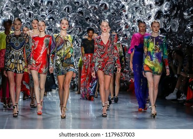 New York, NY, USA - September 11, 2018: Models walk runway for the Naeem Khan Spring/Summer 2019 runway show during New York Fashion Week at Spring Studios, Manhattan