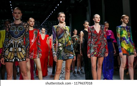 New York, NY, USA - September 11, 2018: Models walk runway for the Naeem Khan Spring/Summer 2019 runway show during New York Fashion Week at Spring Studios, Manhattan