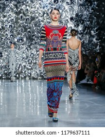 New York, NY, USA - September 11, 2018: A model walks runway for the Naeem Khan Spring/Summer 2019 runway show during New York Fashion Week at Spring Studios, Manhattan