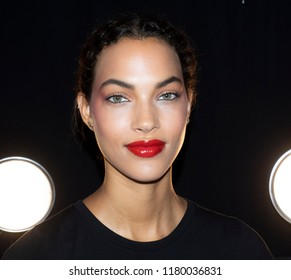 New York, NY, USA - September 11, 2018: A model prepares backstage for the Naeem Khan Spring/Summer 2019 runway show during New York Fashion Week at Spring Studios, Manhattan