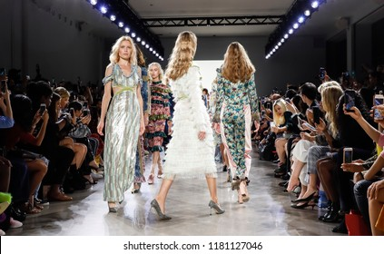 New York, NY, USA - September 7, 2018: Models walk runway to present Vivienne Hu Spring/Summer 2019 collection during NY Fashion Week at Spring Studios, Manhattan