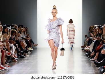 New York, NY, USA - September 7, 2018: A model walks runway to present Vivienne Hu Spring/Summer 2019 collection during NY Fashion Week at Spring Studios, Manhattan