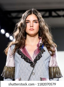 New York, NY, USA - September 7, 2018: A model walks runway rehearsal for Vivienne Hu Spring/Summer 2019 collection during NY Fashion Week at Spring Studios, Manhattan