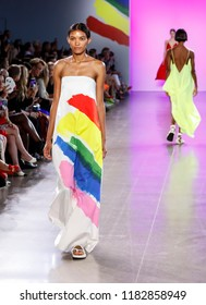 New York, NY, USA - September 7, 2018: A model walks runway to present MILLY by Michelle Smith Spring/Summer 2019 collection during New York Fashion  Week at Spring Studios, Manhattan
