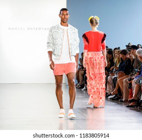 New York, NY, USA - September 12, 2018: A model walks runway to present Marcel Ostertag  Spring/Summer 2019 collection during New York Fashion Week at Spring Studios, Manhattan