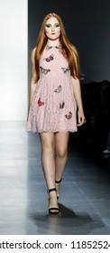 New York, NY, USA - September 11, 2018: A model walks runway to present Dan Liu Spring/Summer 2019 collection during New York Fashion Week at Spring Studios, Manhattan