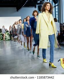 New York, NY, USA - September 12, 2018: Models walk runway to present Calvin Luo Spring/Summer 2019 collection during New York Fashion Week at Spring Studios, Manhattan