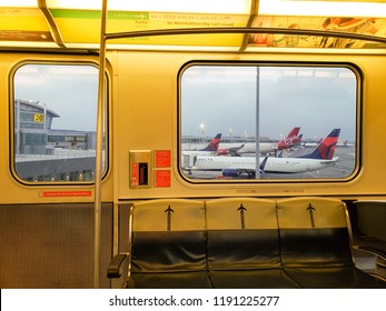 NEW YORK, NY, USA - SEPTEMBER 6, 2018: Inside of Airtrain riding along airport terminals in JFK, John F. Kennedy International Airport.