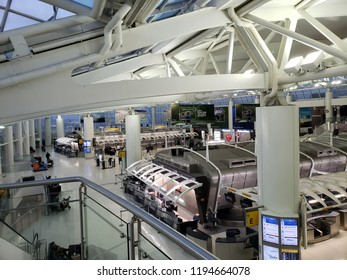 NEW YORK, NY, USA - SEPTEMBER 6, 2018: Morning hour at JFK Terminal 1 with closed airline check-in stands, John F. Kennedy International Airport.