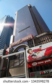 NEW YORK, NY, USA - SEPTEMBER 13, 2015:  Crowne Plaza hotel on Time Square in NYC seen in New York City.