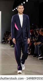 New York, NY, USA - September 6, 2019: A model walks runway for Carlos Campos Spring/Summer 2020 men's collection during New York Fashion Week at Spring Studios, Manhattan