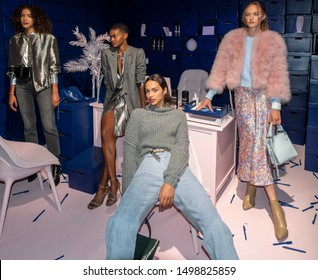 New York, NY, USA - September 7, 2019: Models pose for Rebecca Minkoff Spring/Summer 2020 presentation during New York Fashion Week at Pier 59 Studios, Manhattan