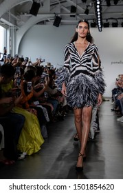 New York, NY, USA - September 10, 2019: Models walk runway for the Pamella Roland Spring/Summer 2020 collection during New York Fashion Week at Pier 59 Studios, Manhattan