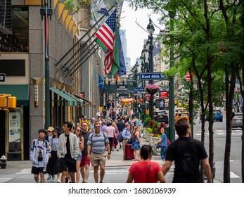 New York, NY, USA. September 18, 2019. Walking through the avenues of Manhattan. Pedestrians walking on sidewalks