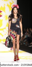 New York, NY, USA - September 04, 2014: Model Adriana Lima walks runway for Desigual Spring 2015 Runway show during Mercedes-Benz Fashion Week New York at the Theatre at Lincoln Center, Manhattan