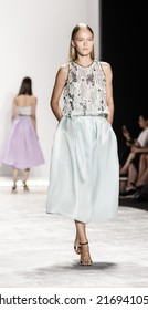New York, NY, USA - September 05, 2014: Model walks runway for Monique Lhuillier Spring 2015 Runway show during Mercedes-Benz Fashion Week New York at the Theatre at Lincoln Center, Manhattan