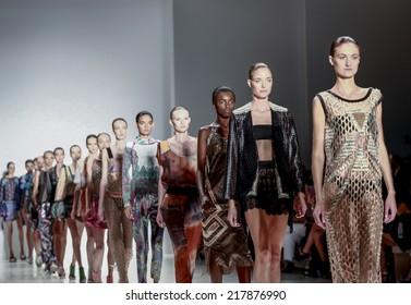 New York, NY, USA - September 07, 2014: Models walk runway for Custo Barcelona Spring 2015 Runway show during Mercedes-Benz Fashion Week New York at the Salon at Lincoln Center, Manhattan