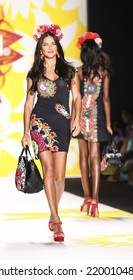New York, NY, USA - September 04, 2014: Model walks runway for Desigual Spring 2015 Runway show during Mercedes-Benz Fashion Week New York at the Theatre at Lincoln Center, Manhattan
