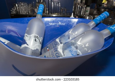 New York, NY USA - September 1, 2014: Bottles of Grey Goose vodka on display at bar on the ground of US Open Championship in Flushing Meadows