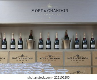 New York, NY USA - September 1, 2014: Bottles of champagne Moet & Chandon on display at bar on the ground of US Open Championship in Flushing Meadows