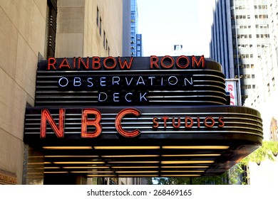 New York, NY, USA - September 17, 2014: The famous Rockefeller Center is home to NBC studios, an observation deck, and the upscale nightclub Rainbow Room.