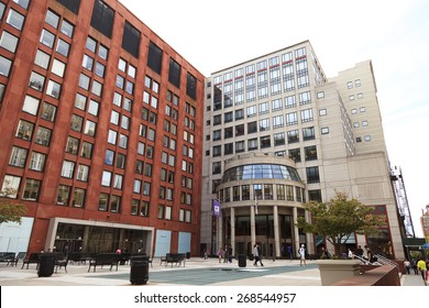 New York, NY, USA - September 14, 2014: New York University's School of Business: New York University (NYU) is a private, nonsectarian American research university based in New York City.