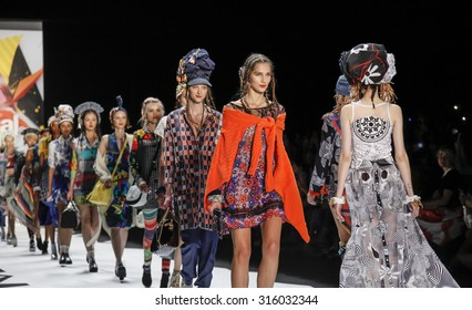 New York, NY, USA - September 10, 2015: Models walk the runway at Desigual runway show during of Spring 2016 New York Fashion Week at The Arc, Skylight at Moynihan Station. #CFDANYFW, #NYFW, #DESIGUAL