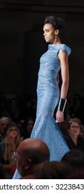 New York, NY, USA - September 10, 2015: A model walks the runway at the Malan Breton fashion show during the Spring Summer 2016 New York Style Fashion Week at Gotham Hall, Manhattan.