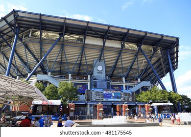 New York, NY, USA - September 9, 2016: Arthur Ashe Stadium: Arthur Ashe Stadium during the US Open 2016 in Queens, New York: Arthur Ashe Stadium is a tennis stadium located in the Queens borough