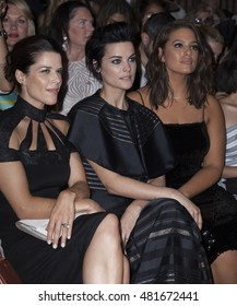New York, NY USA - September 10, 2016: Neve Campbell, Jamie Alexander, Ashley Graham attend runway for Christian Siriano collection during New York Fashion week Spring/Summer 2017 at Art Beam