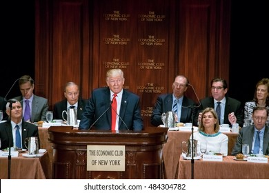 NEW YORK, NY, USA - SEPTEMBER 15, 2016: Donald Trump delivers a speech to the Economic Club of New York at the Waldorf Astoria with vice presidential candidate Mike Pence in attendance.