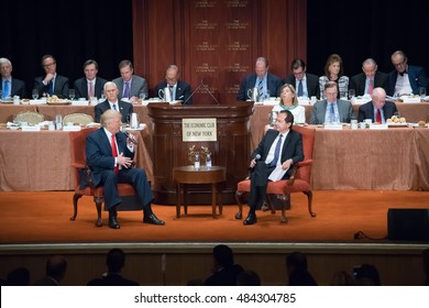 NEW YORK, NY, USA - SEPTEMBER 15, 2016: Donald Trump and John Paulson sit during the question and answer presentation to the Economic Club of New York at the Waldorf Astoria.