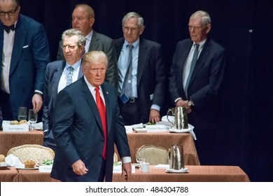 NEW YORK, NY, USA - SEPTEMBER 15, 2016: Donald Trump prepares to exit the stage from his presentation to the Economic Club of New York at the Waldorf Astoria.