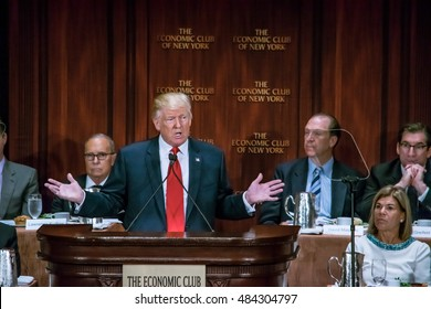 NEW YORK, NY, USA - SEPTEMBER 15, 2016: Donald Trump delivers a speech to the Economic Club of New York at the Waldorf Astoria.