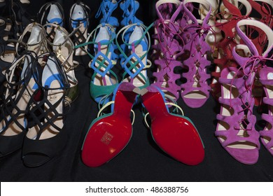 New York, NY USA - September 14, 2016: Shoes by Christian Louboutin on display backstage for collection by Naeem Khan during New York Fashion week Spring/Summer 2017 at Moynihan Station