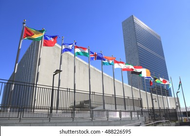 New, York, NY, USA - September 24, 2016 - United Nations Headquarters in New York City: The United Nations General Assembly opens.