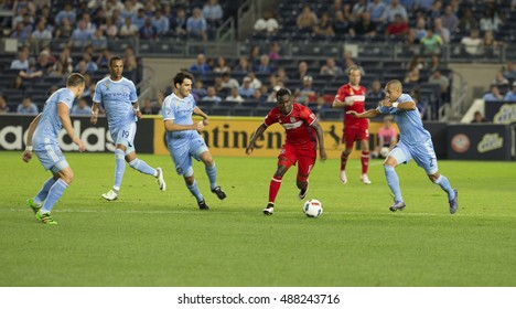 New York, NY USA - September 23, 2016: David Accam (11) of Chicago Fire controls ball during MLS game against New York City Football Club NYCFC won 4 - 1