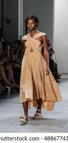 New York, NY, USA - September 12, 2016: A model walks runway for the Leanne Marshall Spring/Summer 2017 runway show during New York Fashion Week SS 2017 at The Gallery at Skylight Clarkson Sq