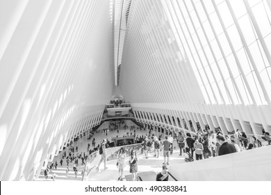 New York, NY, USA - SEPTEMBER 15, 2016: Inside of World Trade Center Transportation Hub: World Trade Center Transportation Hub is the a large transit station for PATH rail service and retail complex.