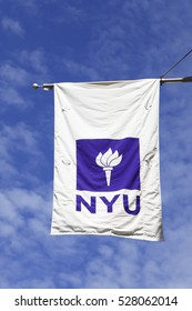 New York, NY, USA - September 23, 2016: NYU: NYU flag of New York University, the New York University is the largest private institution in the United States.